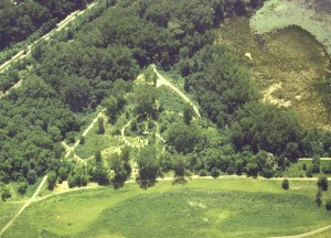 The spirals in the Heart of the Park area. Note the memorial cedar trees located along each spiral. Each tree was individually purchased to honor a special person and to raise money for the park. Also visible in this photo are the summer solstice sunrise line and the runic calendar, as well as the secondary bike/walk cinder trails that describe a pyramid enclosing the center of the spirals.